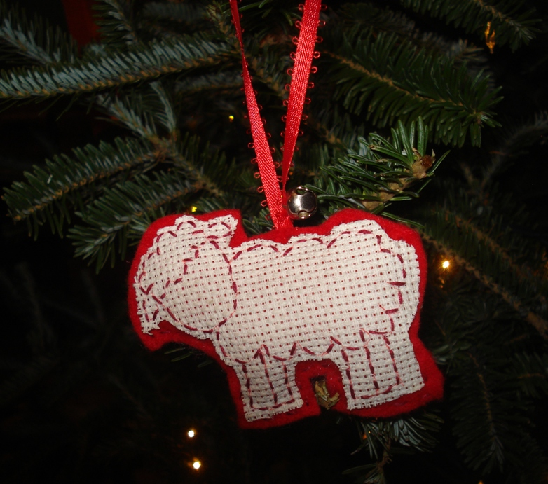 Redwork sheep ornament eclectic lamb for Sheep christmas ornament craft