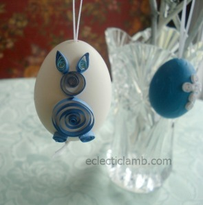Blue Bunny Quilled Egg