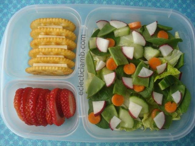 Salad with Cheese and Crackers