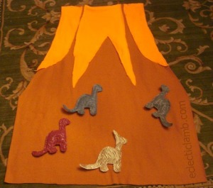 Volcano Mat with Dinosaurs