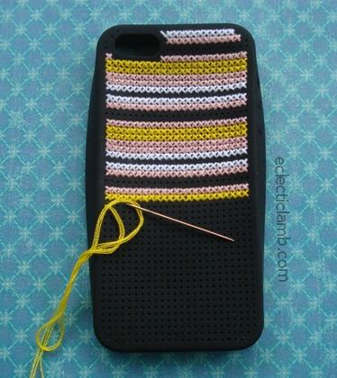 iPhone Cross Stitch in Process