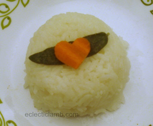 Plain Rice with Sage and Carrot Heart