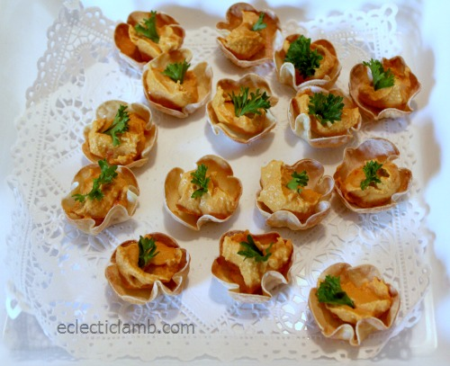 Flower Crisps with Red Pepper Hummus