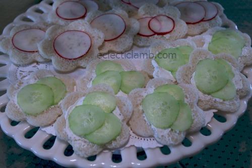 Radish and Cucumber Tea sandwiches