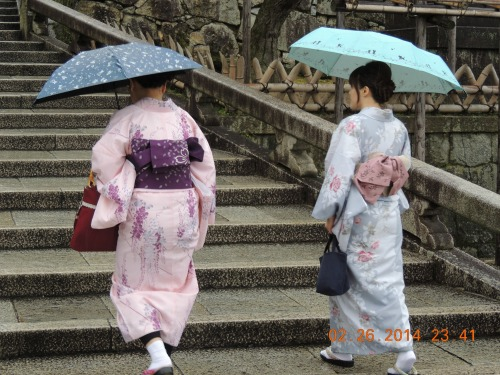 Women in Kimono on Steps