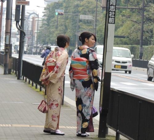 Women on Sidewalk Kimonos