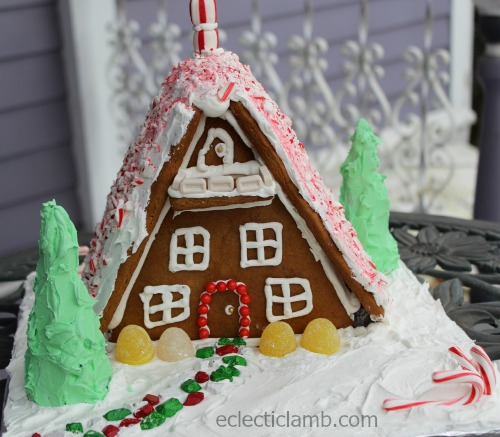 A-frame Gingerbread House Candy Cane Roof Front