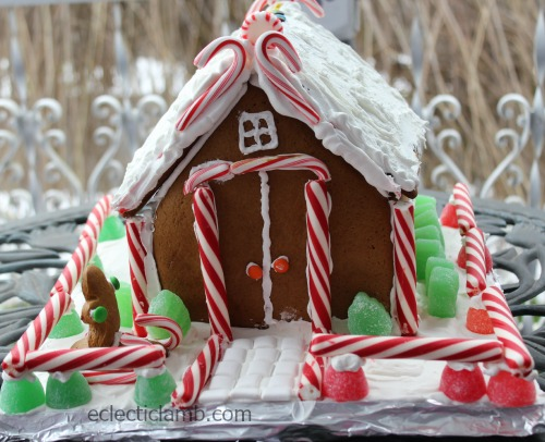 Candy Cane Theme Gingerbread House Front