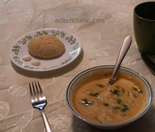 Egg shaped bread and butter soup