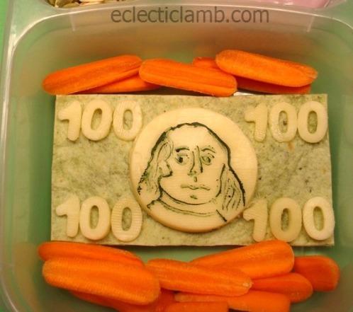 100 dollar bill food