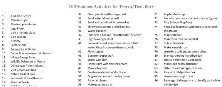 100 Summer Activities For Tween And Teen Boys Eclectic Lamb