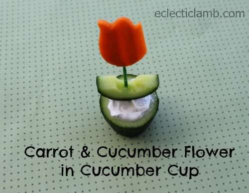 Carrot and Cucumber Flower Pin