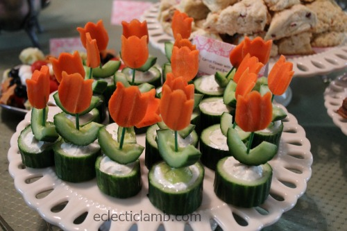 Carrot Flower in Cucumber Cup on cake plate