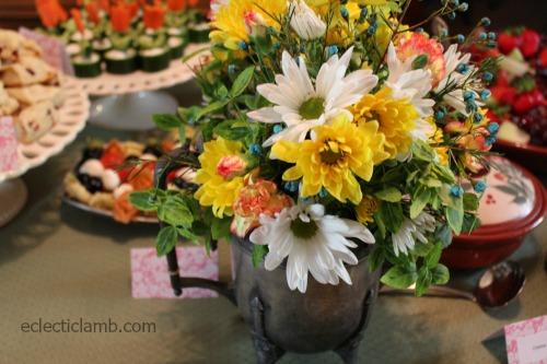 Silver Tea Pot Flowers