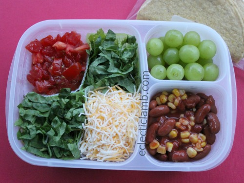 kidney bean corn tacos for lunch