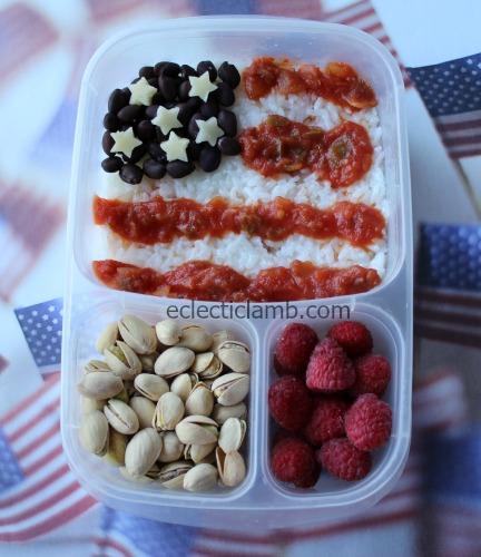 Salsa rice beans american flag