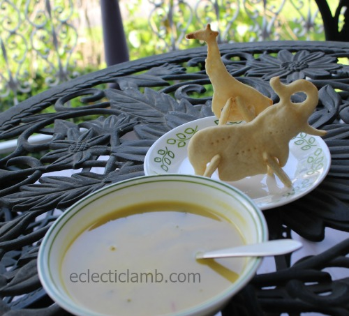 Soup with 3D animal crackers