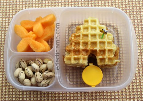 Bee Hive waffle with melon bees