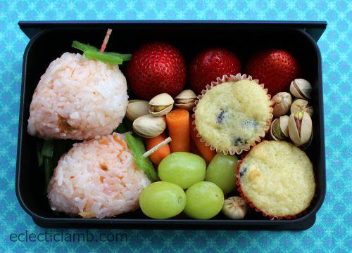 Strawberry rice in book bento box