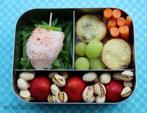 Strawberry rice in Lunchbots trio