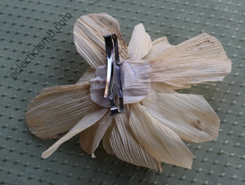 Corn Husk Flower Barrette back