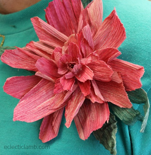Corn Husk Flower Brooch