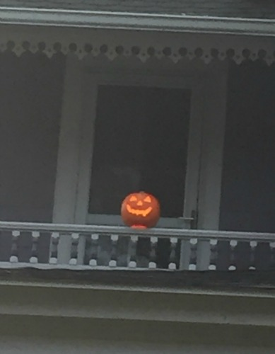 pumpkin on balcony
