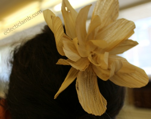 Wearing Corn Husk Flower Barrette