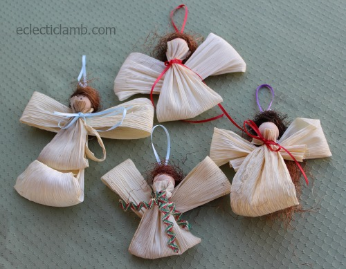 Corn husk angel ornaments