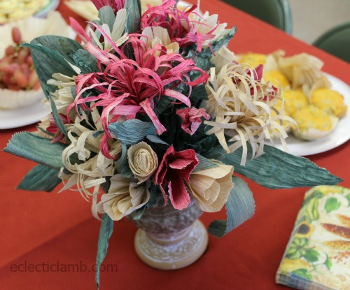Corn Husk Flower Arrangement