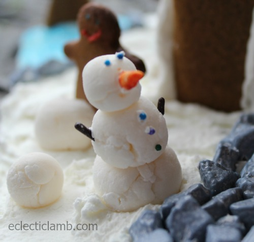 Fondant Snowman Gingerbread House