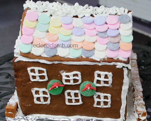 Necco candy roof gingerbread house back