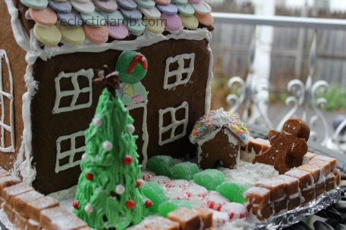 Necco Gingerbread house front close