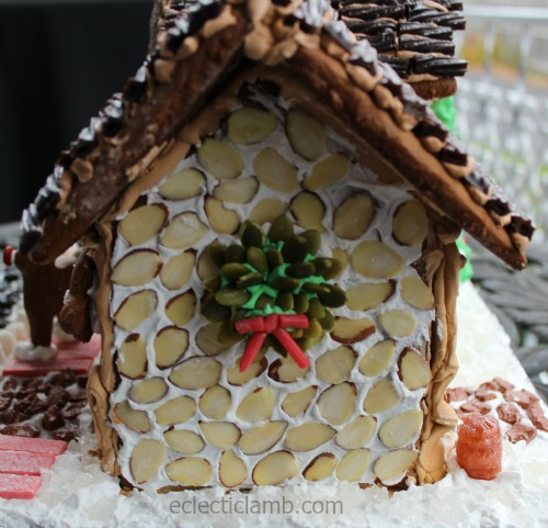 Other side pumpkin seed wreath gingerbread house