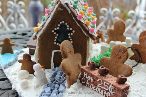 Winter Scene Gingerbread House Front