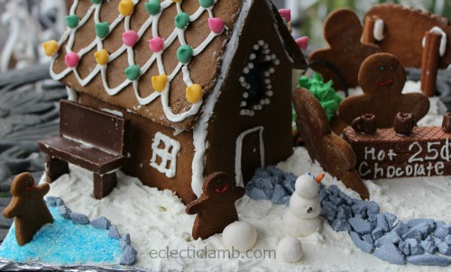 Winter Scene Gingerbread House pond side