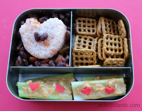 Heart Onigiri lunch with peanut butter and pretzels