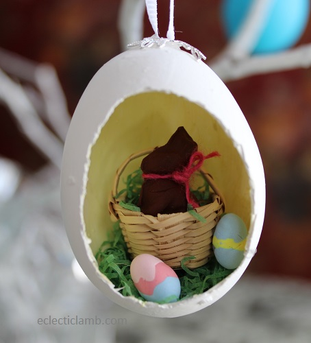 Chocolate bunny diorama easter egg ornament