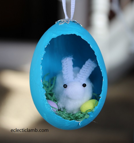 Cotton ball bunny easter egg ornament
