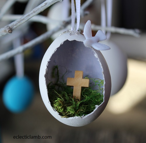 Cross Dove Easter Egg Ornament