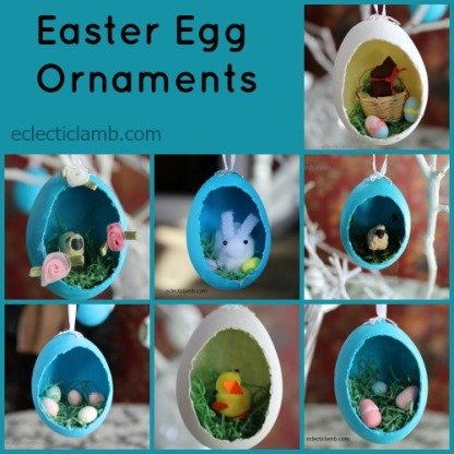 Diorama Easter Egg Ornaments Collage