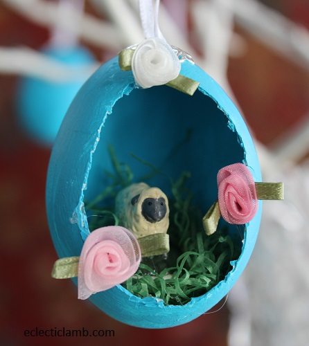 Sheep with Roses Easter Egg Ornament