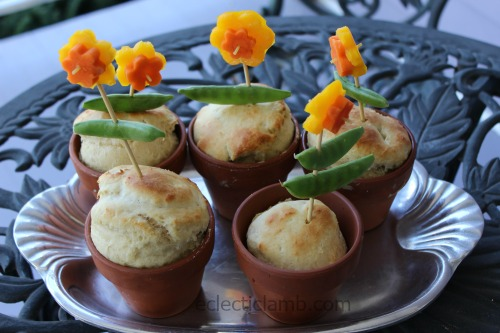 Flower Pot Bread with Vegetable Flowers
