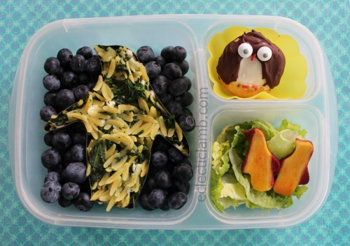 Penguin Orzo and Spinach with blueberries lunch