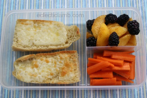 cheesy-bread-peaches-blackberries-carrots-lunch