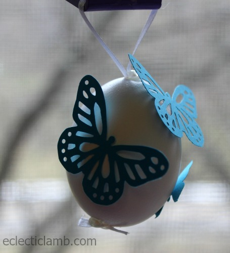 Butterfly punch decorated egg