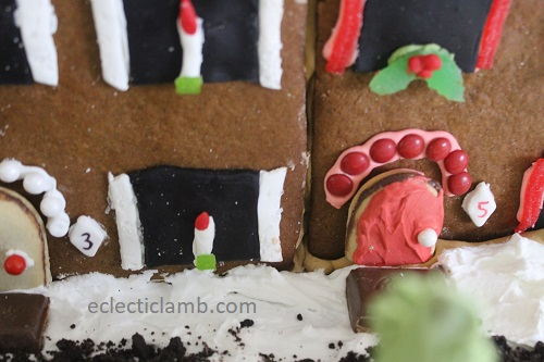 gingerbread row houses doors close