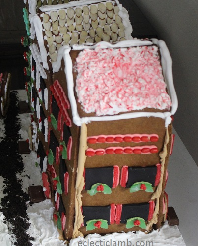 outside wall of row houses gingerbread