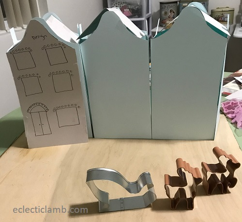 paper model gingerbread row houses