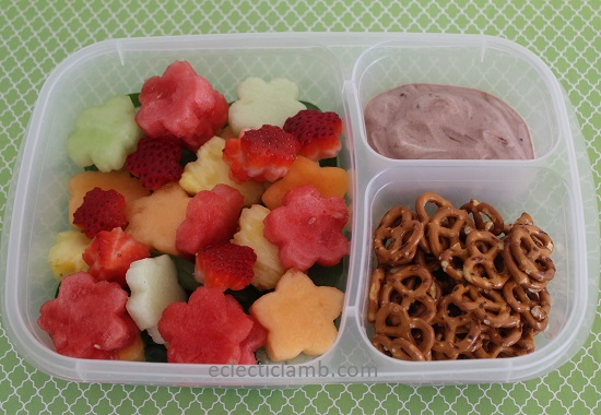 Flower Fruit Salad Lunch with Chocolate Yogurt Dip